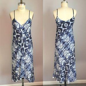 Velvet | Silk Blue Tie Dye Midi Dress